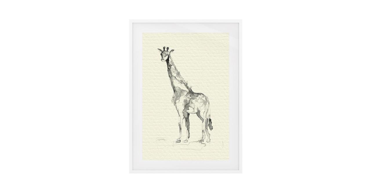 The Safari Print White Wood Frame Small Giraffe
