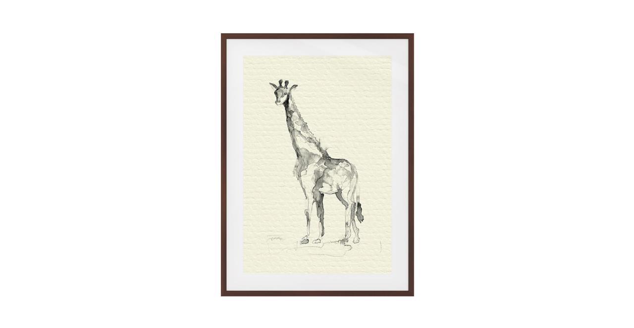 The Safari Print Dark Brown Wood Frame Small Giraffe