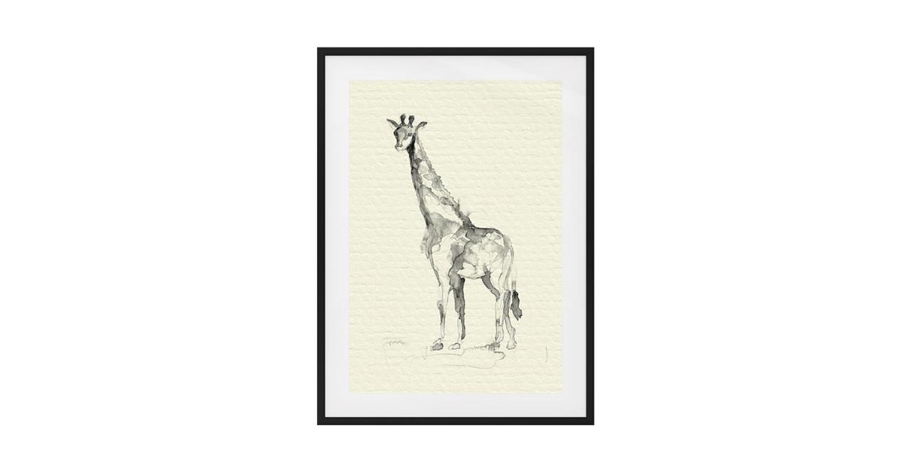 The Safari Print Black Wood Frame Medium Giraffe