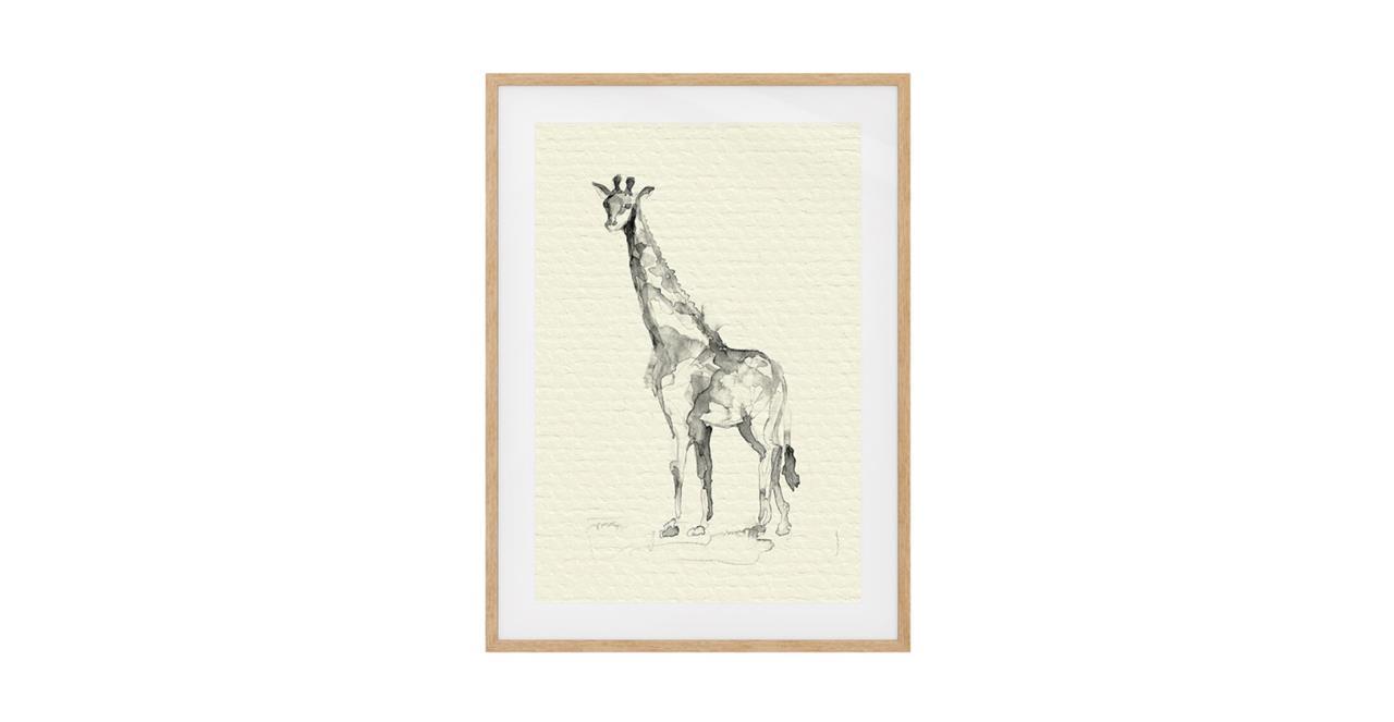 The Safari Print Natural Wood Frame Medium Giraffe