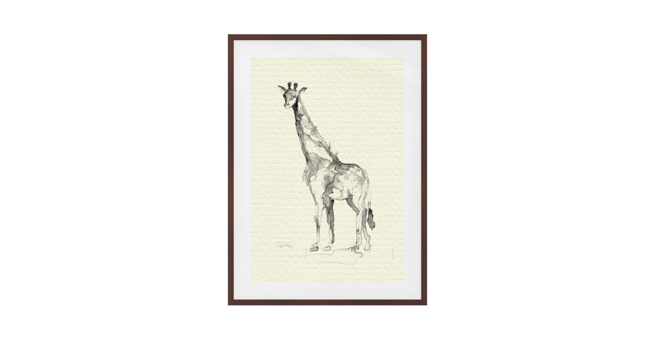The Safari Print Dark Brown Wood Frame Medium Giraffe