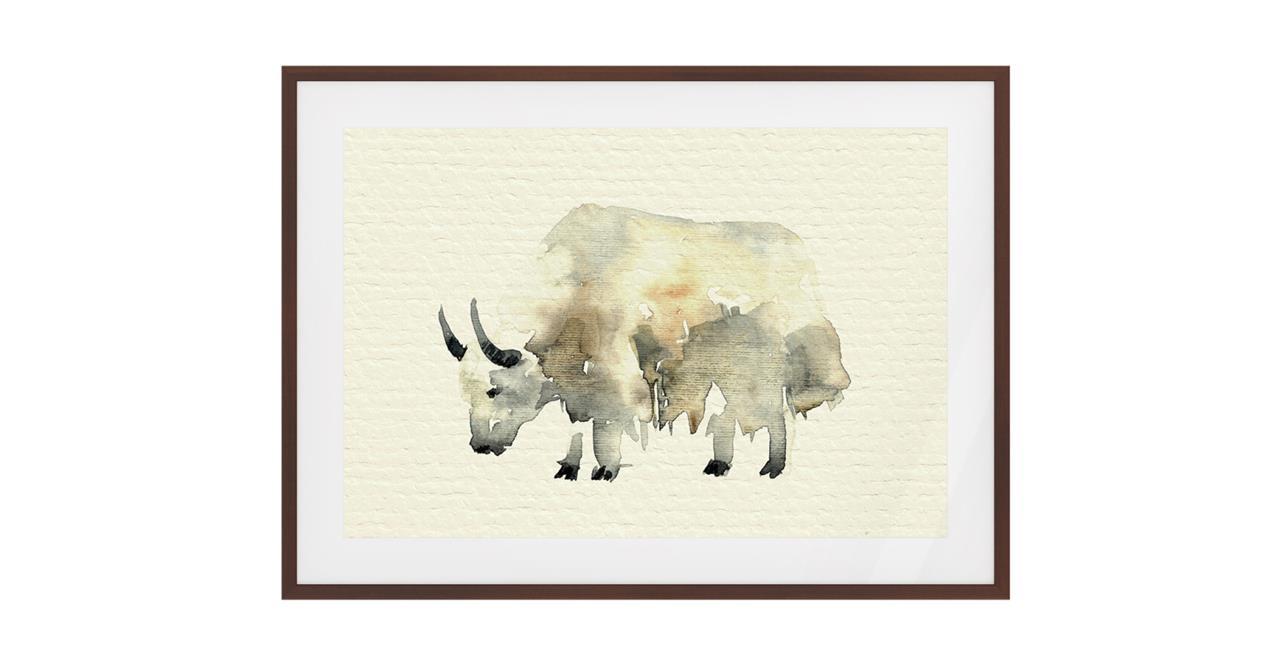 The Safari Print Dark Brown Wood Frame Small Yak
