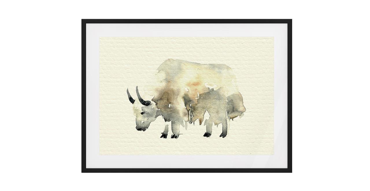 The Safari Print Black Wood Frame Medium Yak