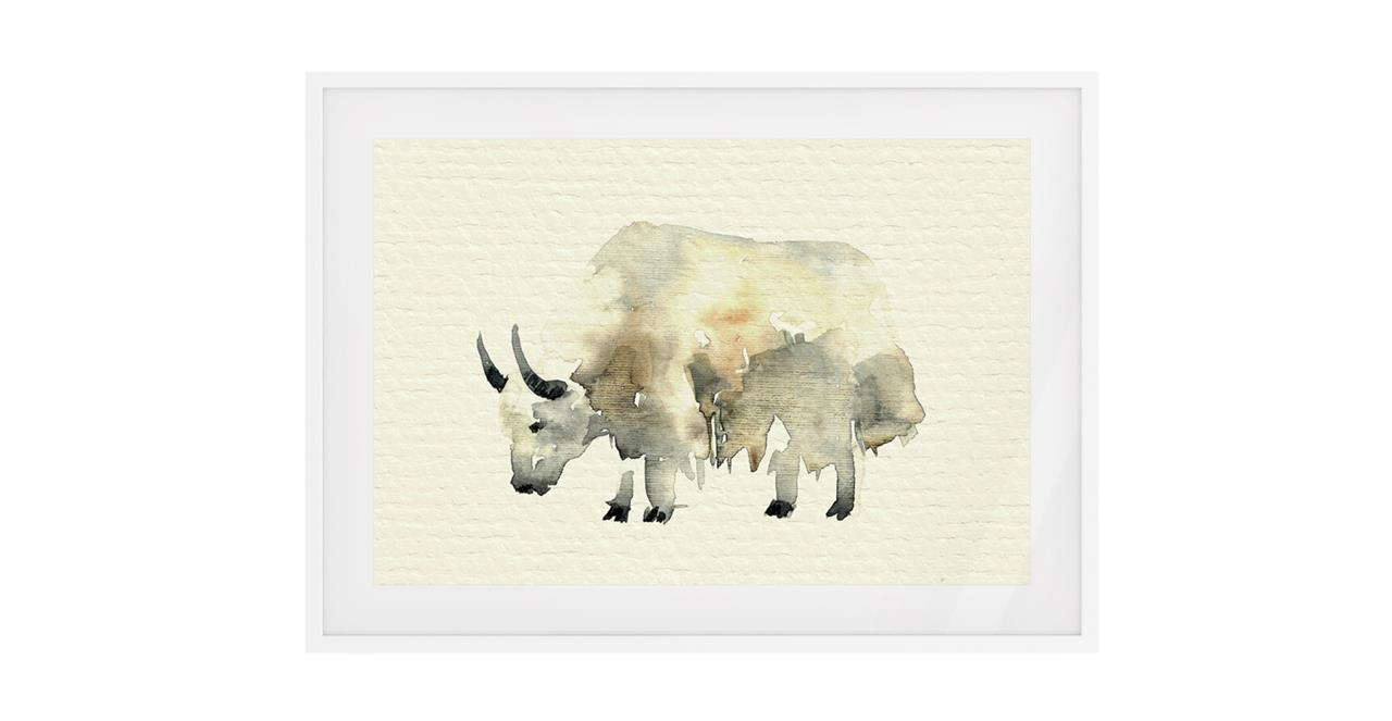 The Safari Print White Wood Frame Medium Yak