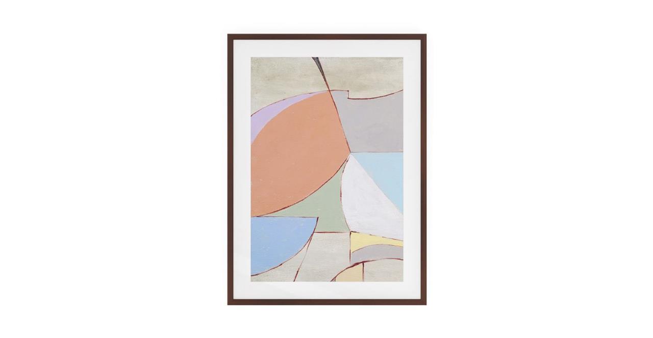 The Sorbet Print Dark Brown Wood Frame Medium Rose