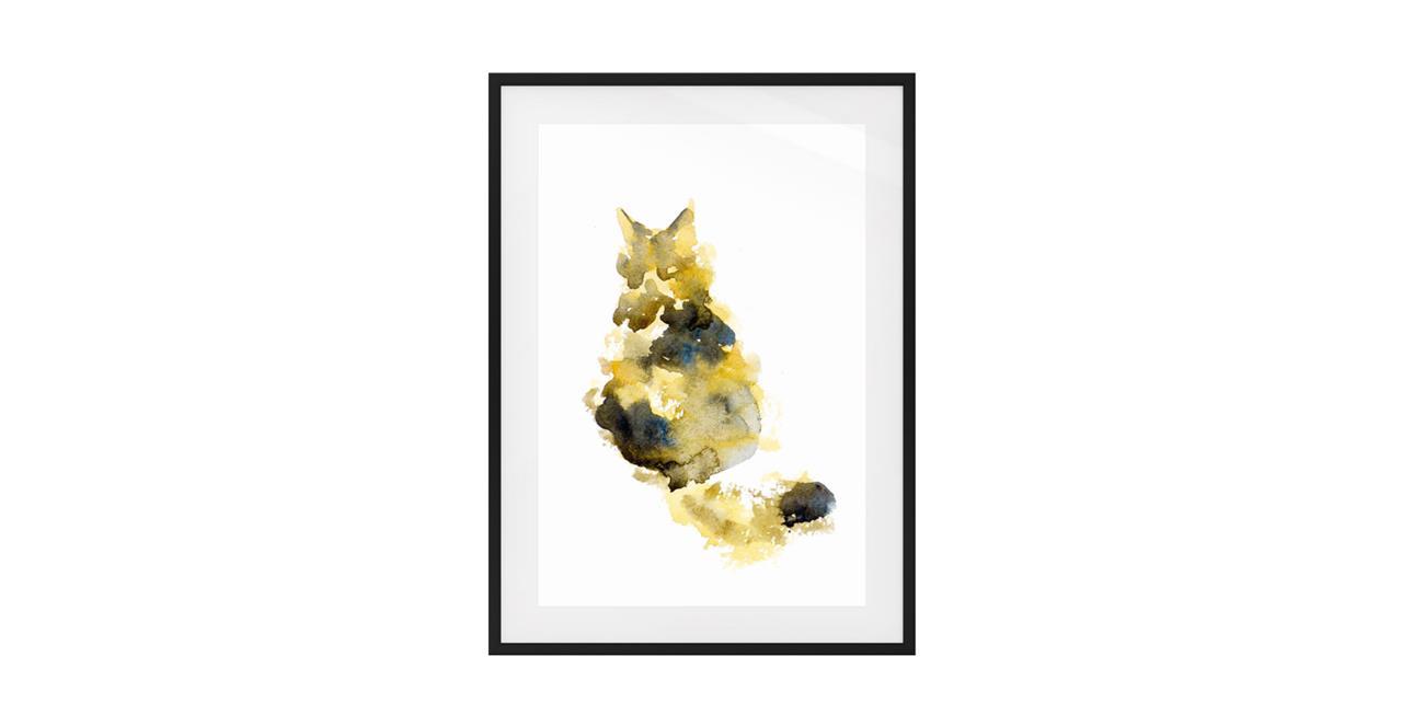 The Spectrum Cat Print Black Wood Frame Small