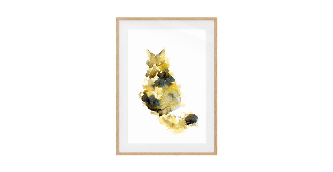 The Spectrum Cat Print Natural Wood Frame Small