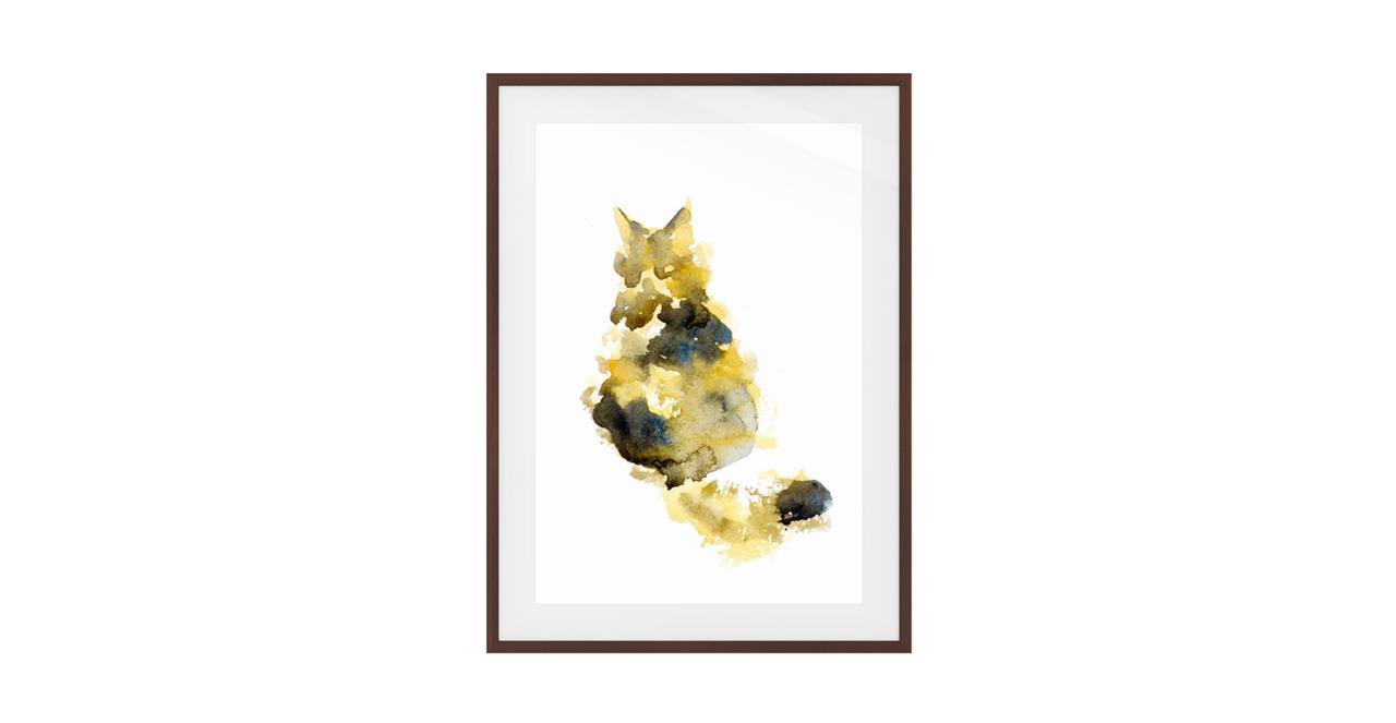 The Spectrum Cat Print Dark Brown Wood Frame Small