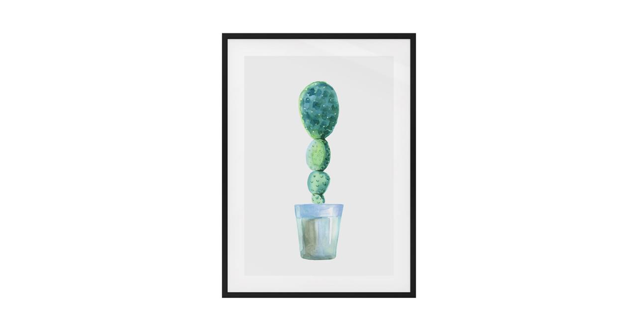 The Succulent Print Black Wood Frame Small Cactus