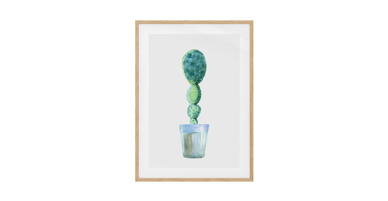 The Succulent Print Natural Wood Frame Small Cactus