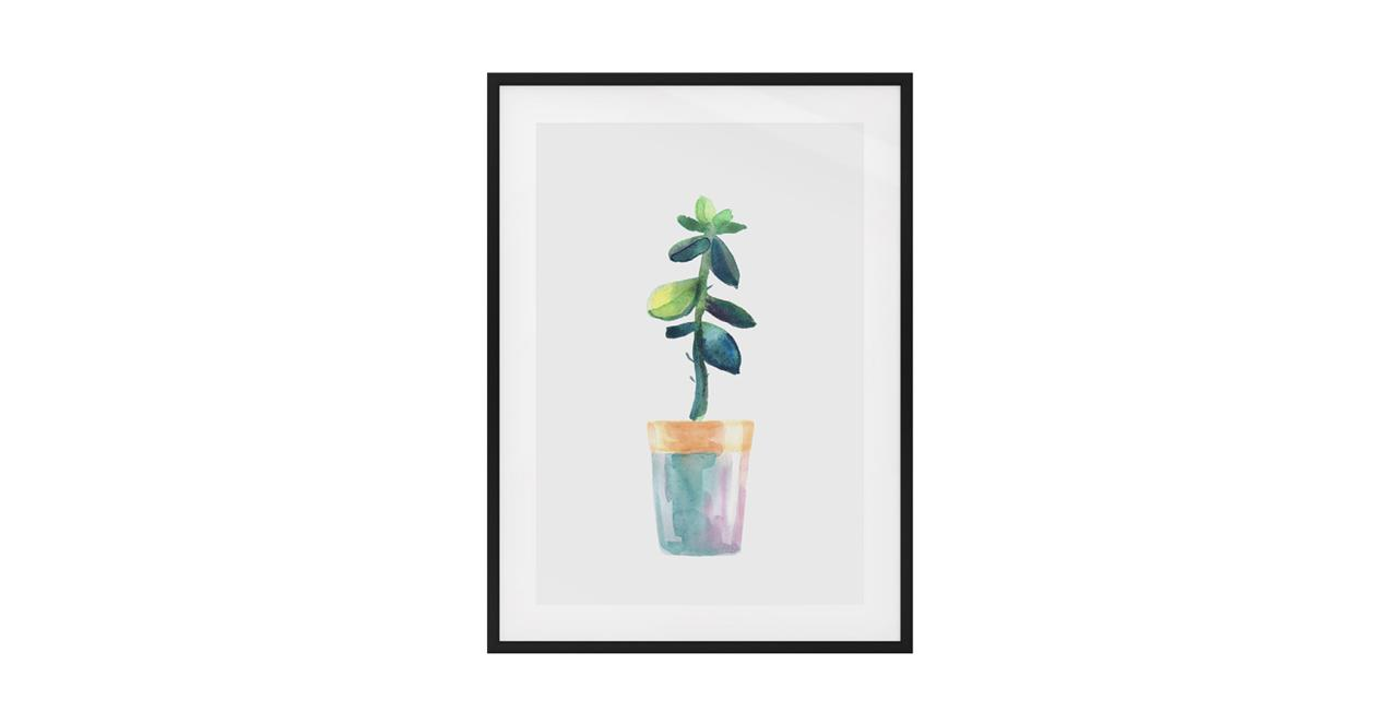 The Succulent Print Black Wood Frame Small Leaf
