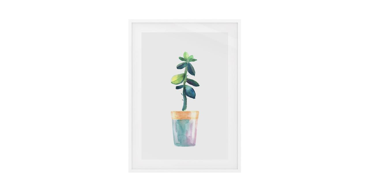 The Succulent Print White Wood Frame Small Leaf