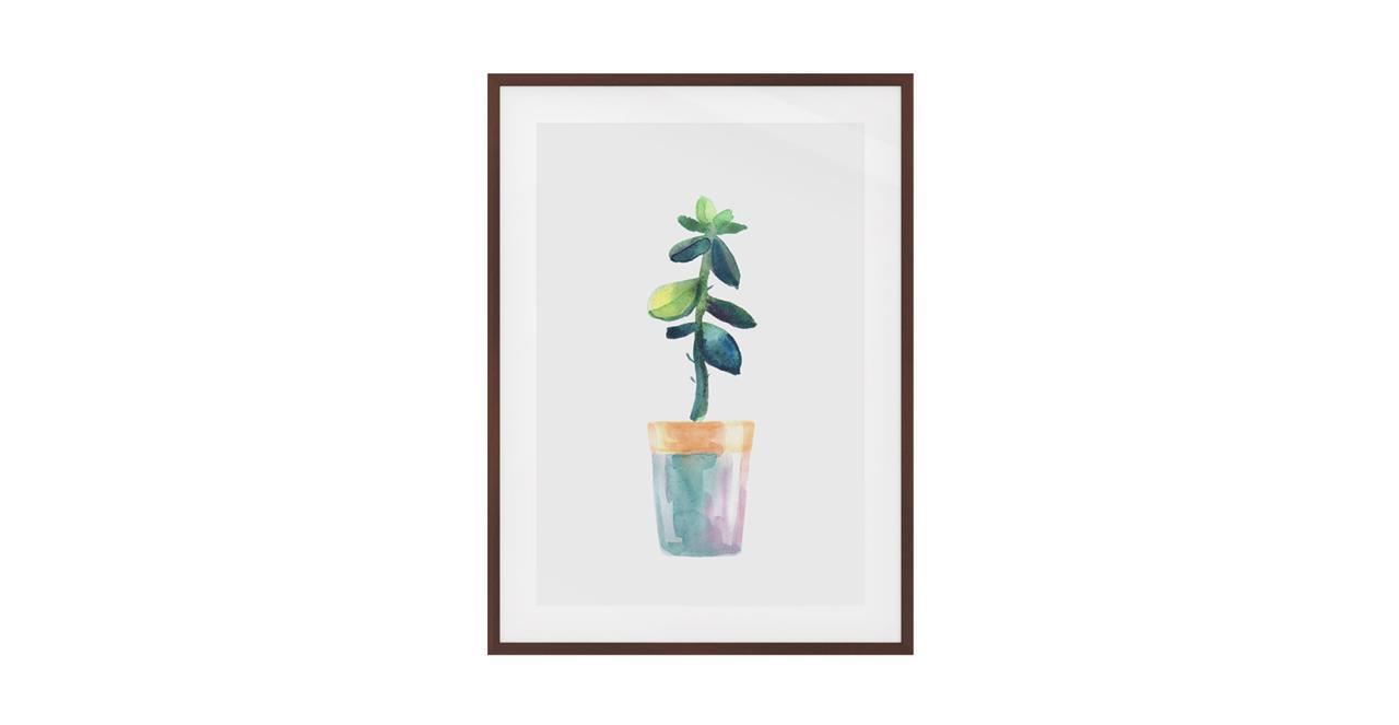 The Succulent Print Dark Brown Wood Frame Medium Leaf
