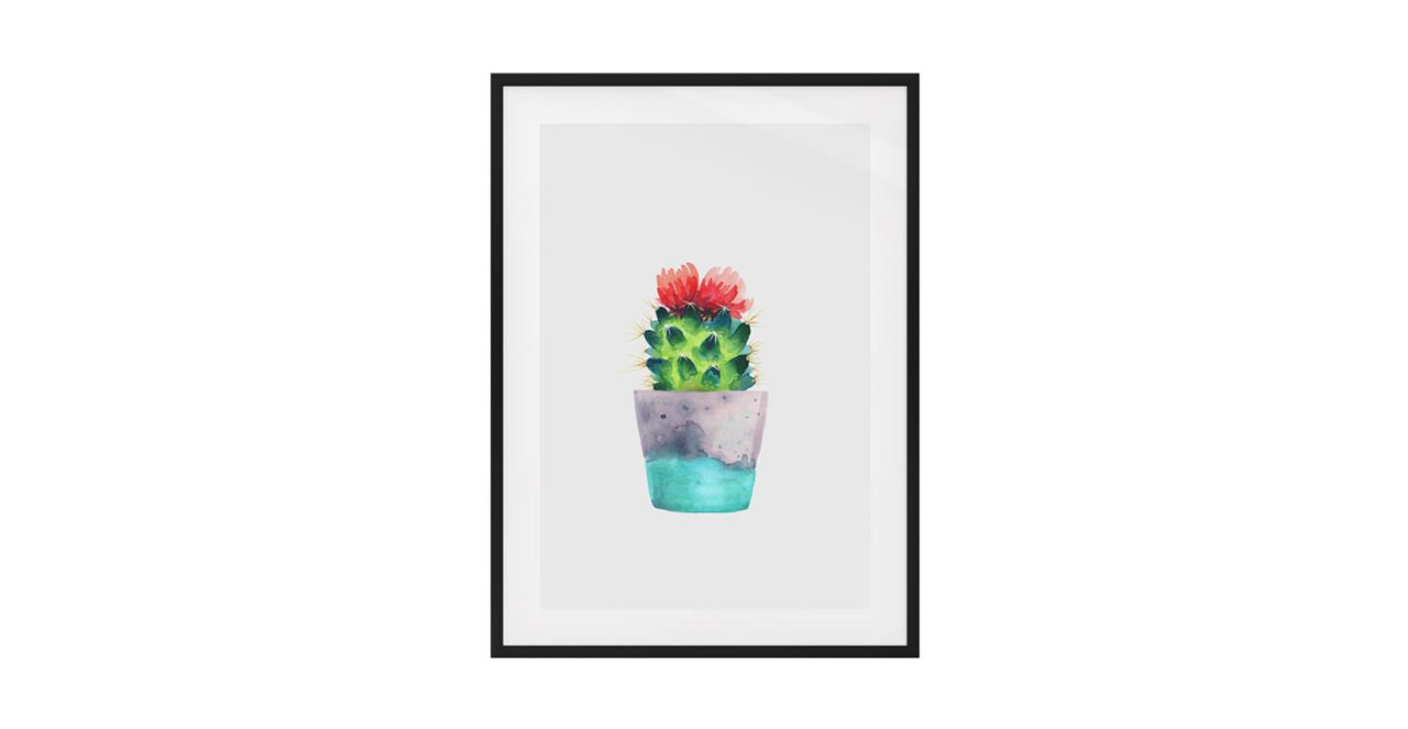 The Succulent Print Black Wood Frame Small Blossom One