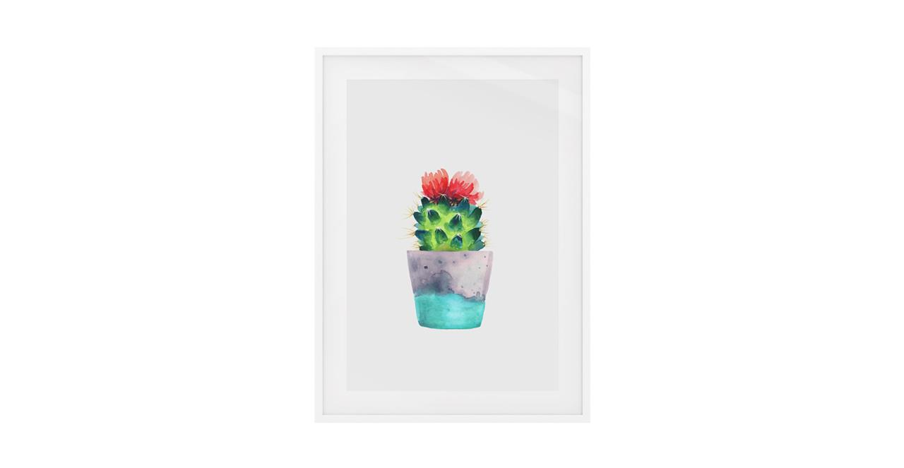 The Succulent Print White Wood Frame Small Blossom One