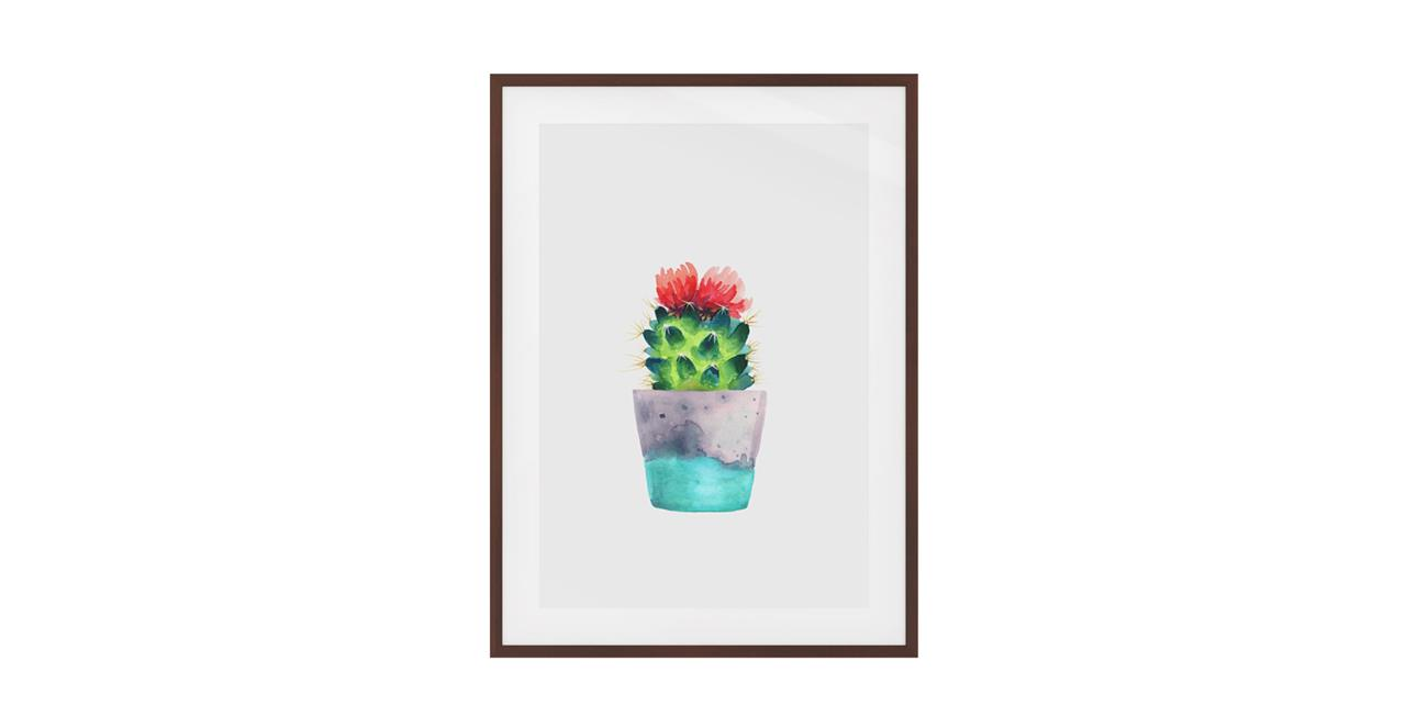 The Succulent Print Dark Brown Wood Frame Small Blossom One