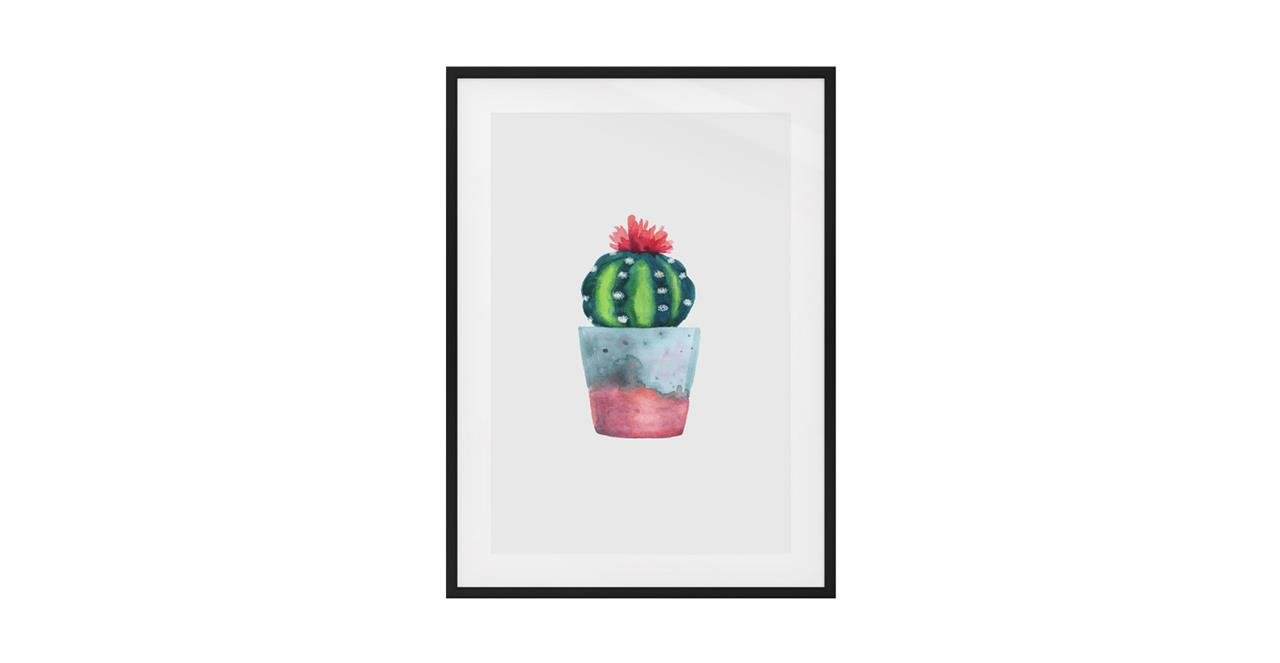 The Succulent Print Black Wood Frame Small Blossom Two