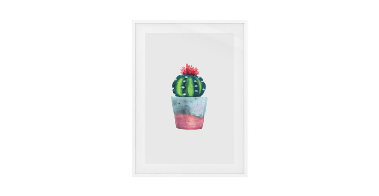 The Succulent Print White Wood Frame Small Blossom Two