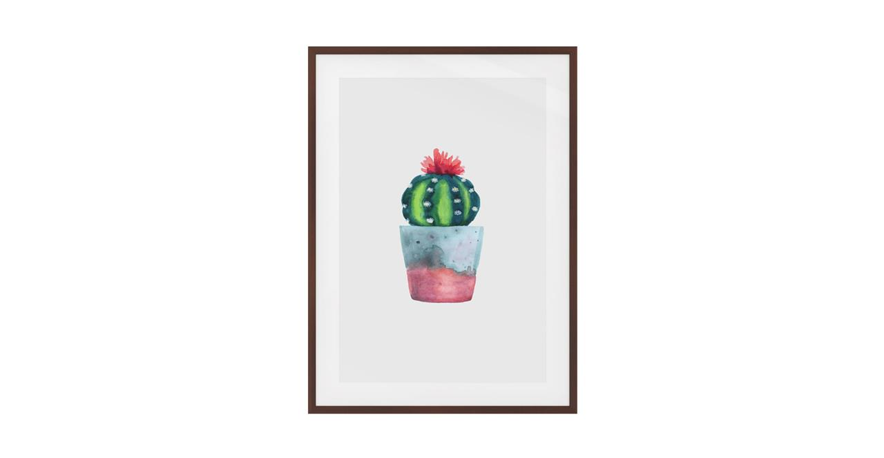 The Succulent Print Dark Brown Wood Frame Small Blossom Two