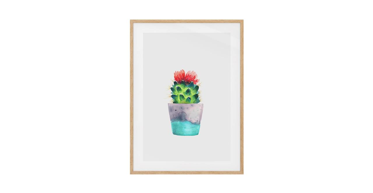 The Succulent Print Natural Wood Frame Medium Blossom Two