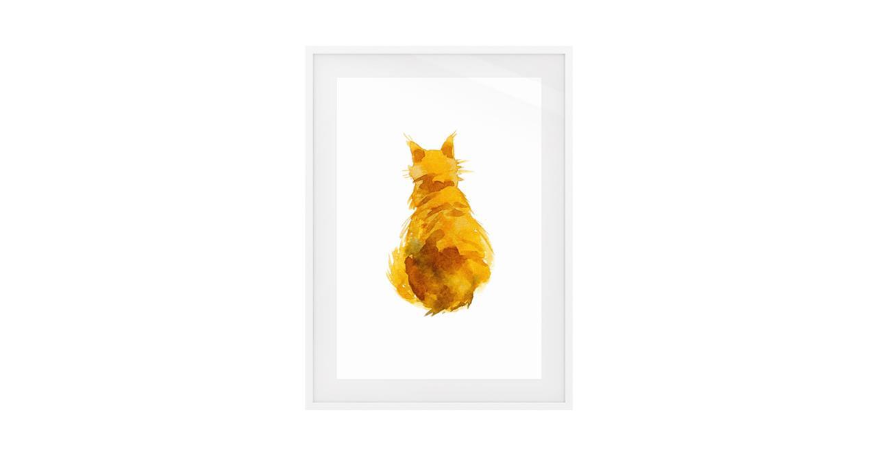 The Sunshine Cat Print White Wood Frame Small