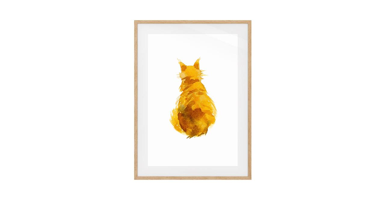 The Sunshine Cat Print Natural Wood Frame Small