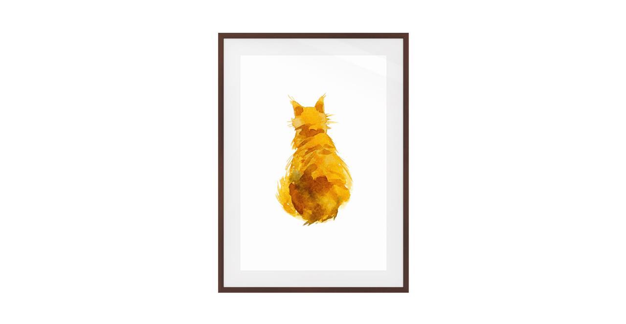 The Sunshine Cat Print Dark Brown Wood Frame Small