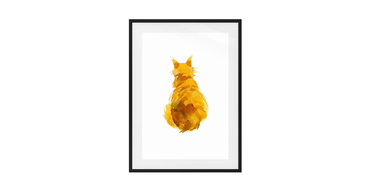 The Sunshine Cat Print Black Wood Frame Medium