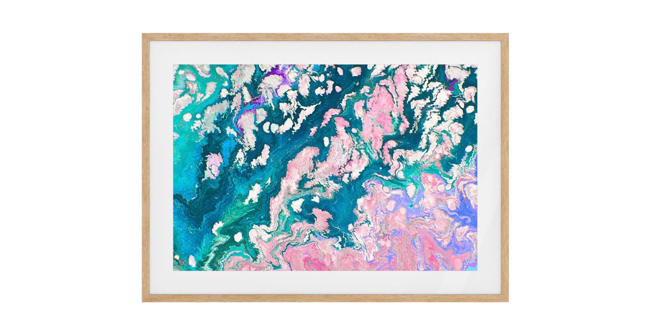 The Swirl Print Natural Wood Frame Small