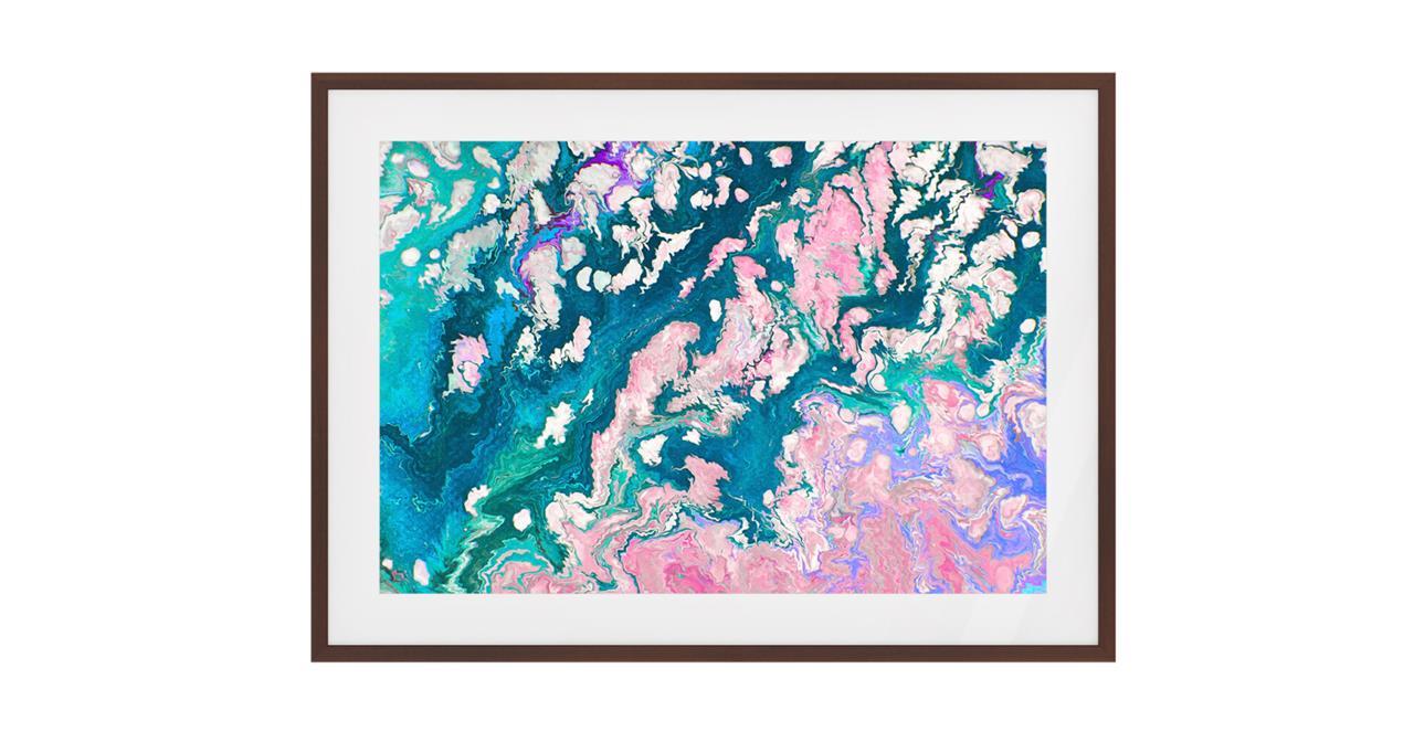 The Swirl Print Dark Brown Wood Frame Small
