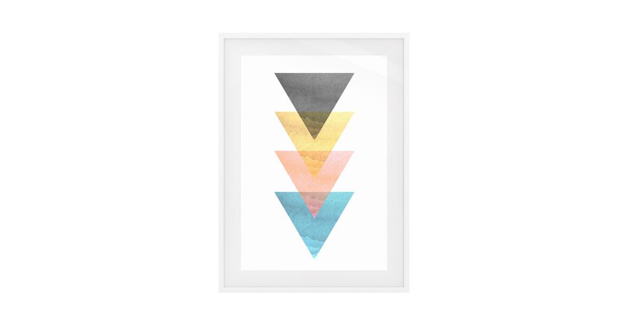 The Triangle Print White Wood Frame Medium