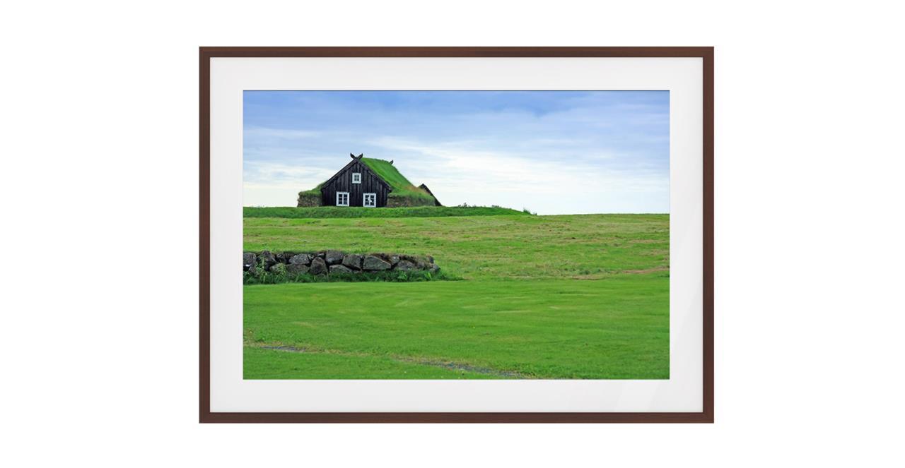 The Turf Print Dark Brown Wood Frame Medium