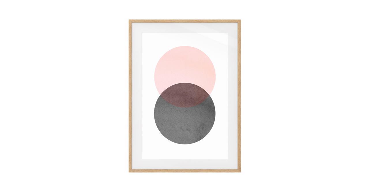 The Venn Print Natural Wood Frame Medium Rose