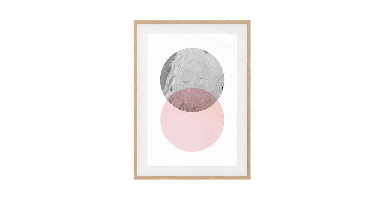 The Venn Print Natural Wood Frame Small Grey