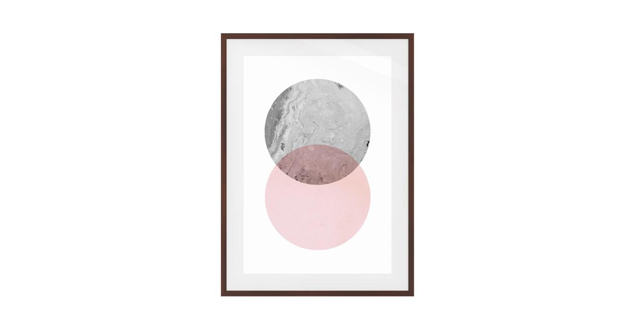 The Venn Print Dark Brown Wood Frame Small Grey