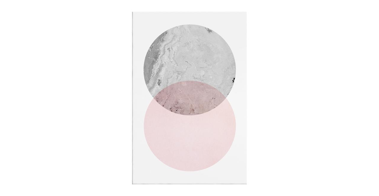 The Venn Print Canvas Small Grey