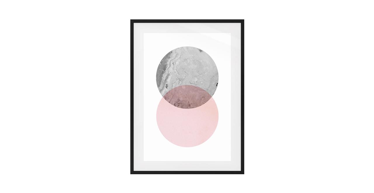 The Venn Print Black Wood Frame Medium Grey