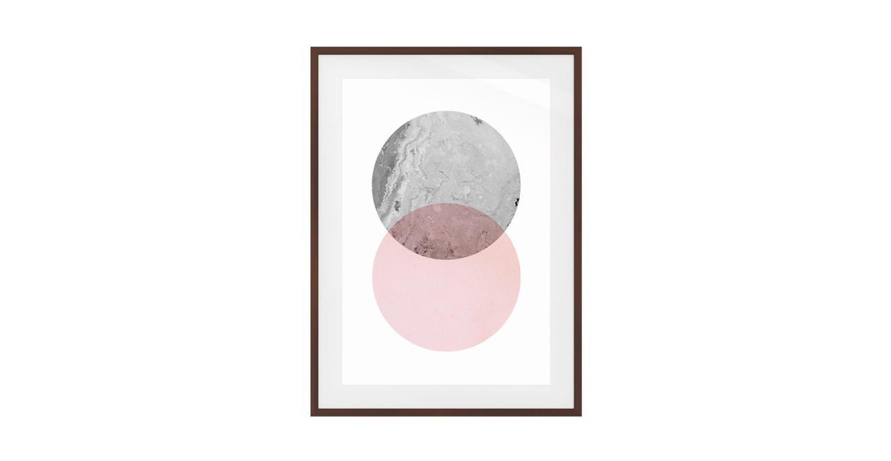 The Venn Print Dark Brown Wood Frame Medium Grey