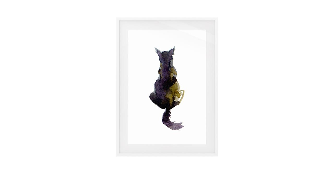 The Violet Cat Print White Wood Frame Small