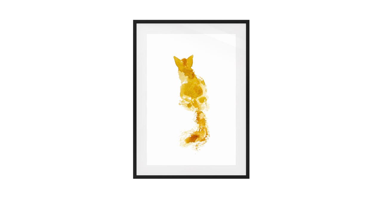 The Golden Cat Print Black Wood Frame Small