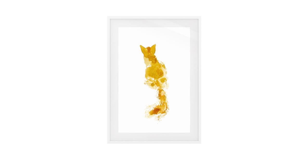 The Golden Cat Print White Wood Frame Medium