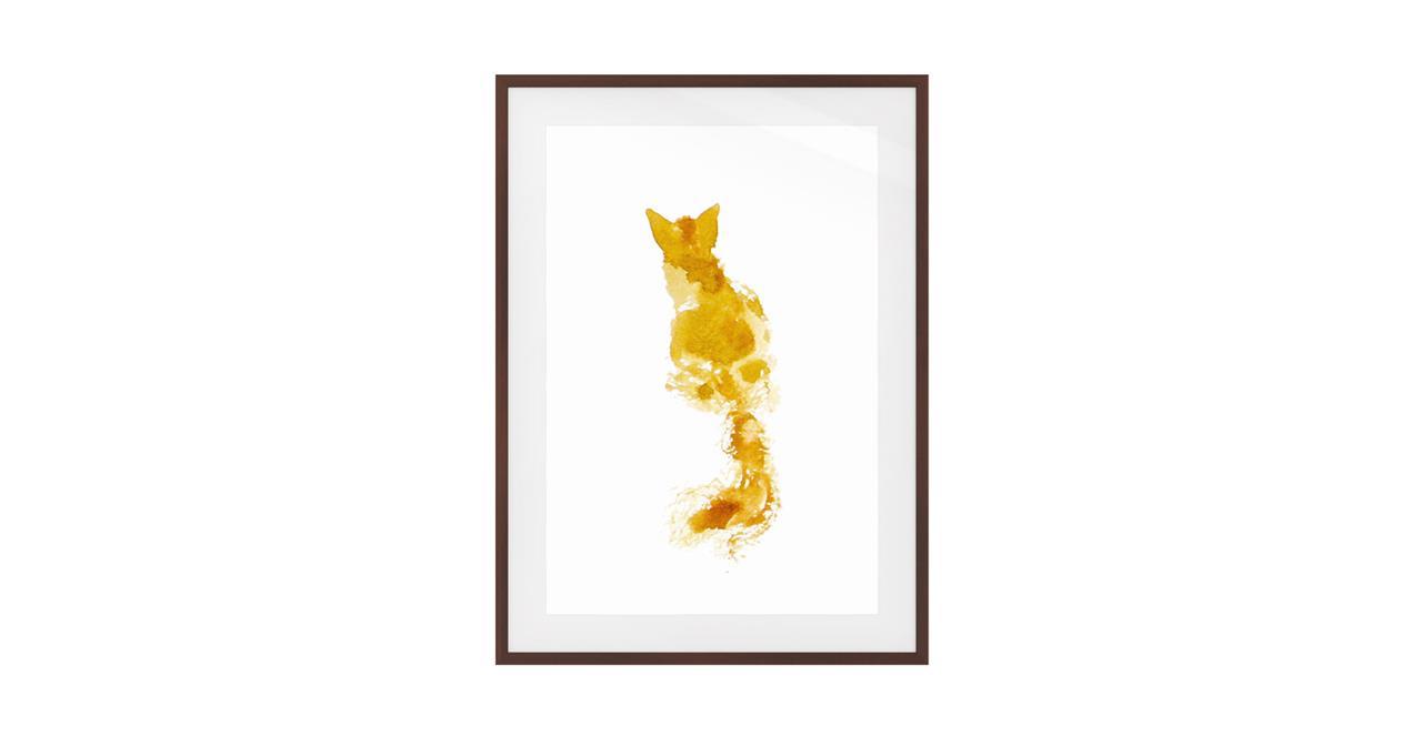 The Golden Cat Print Dark Brown Wood Frame Medium