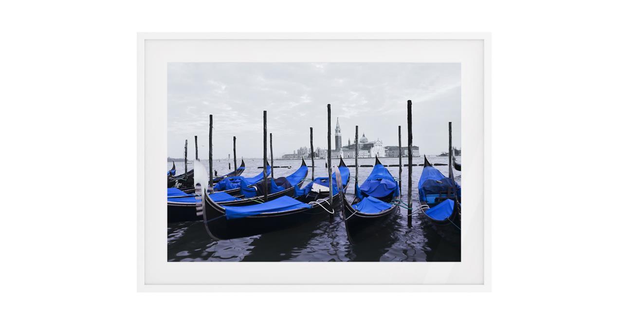 The Gondola Print White Wood Frame Small