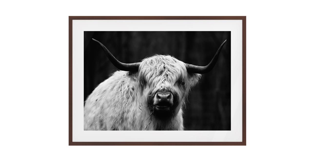 The Highland Print Dark Brown Wood Frame Small