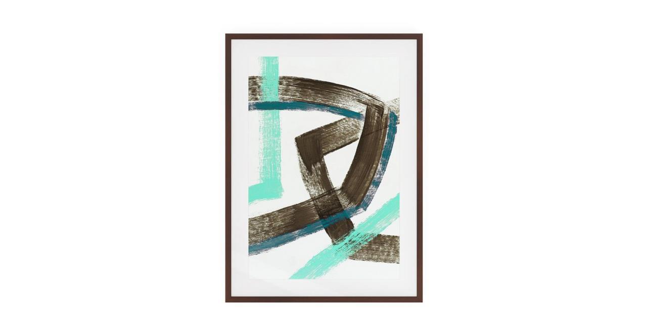 The Interlock Print Dark Brown Wood Frame Medium Brown