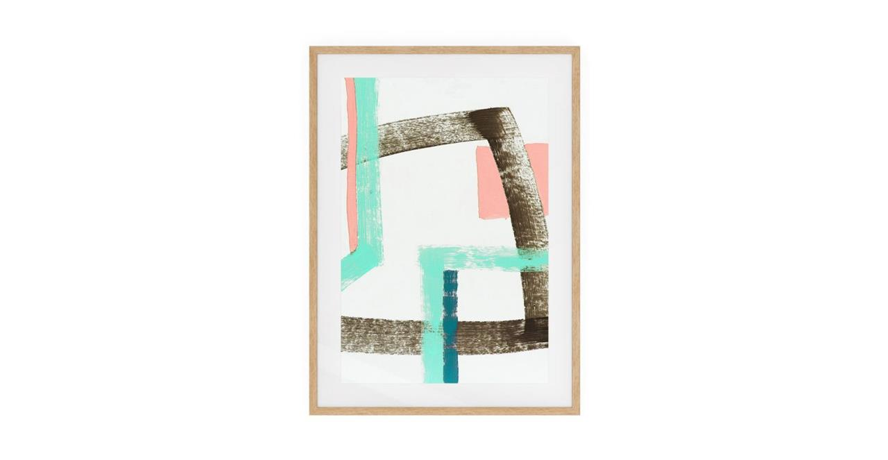 The Interlock Print Natural Wood Frame Medium Rose