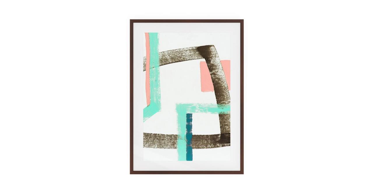 The Interlock Print Dark Brown Wood Frame Medium Rose