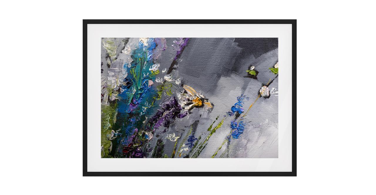 The Lavender Print Black Wood Frame Small