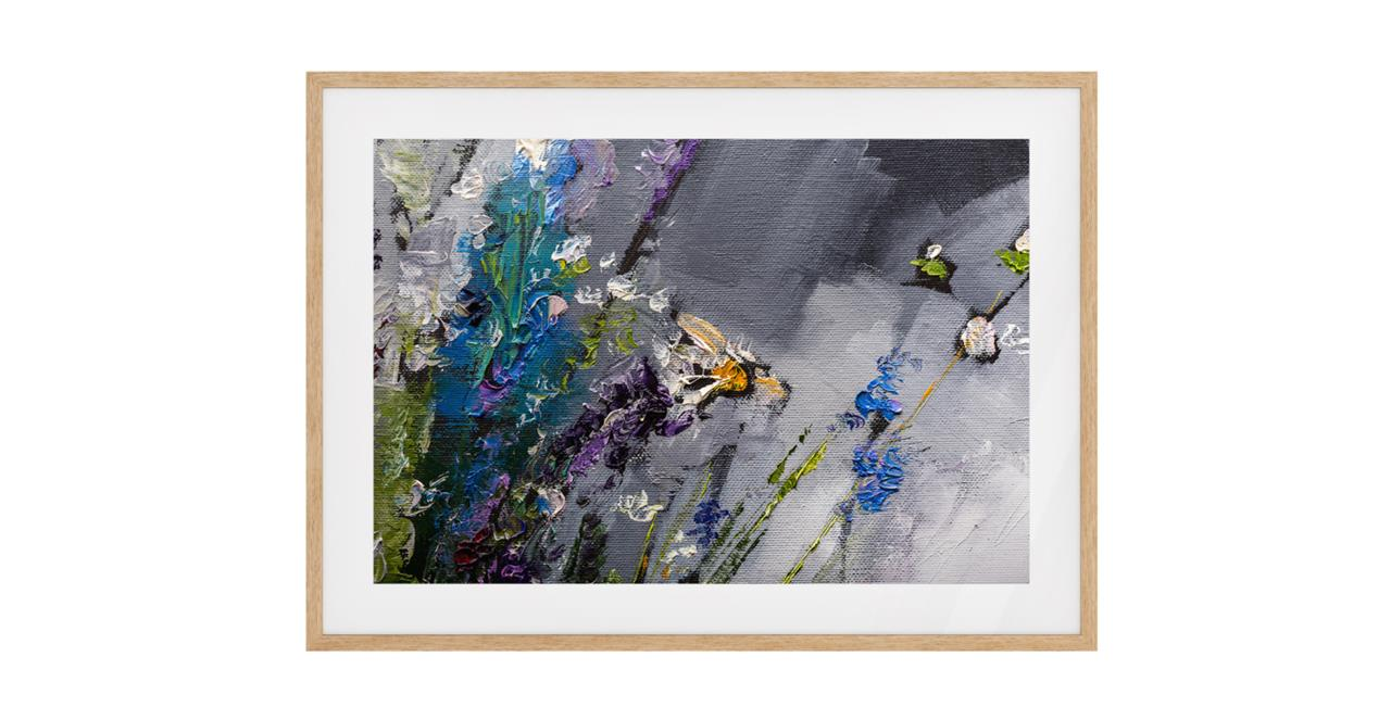 The Lavender Print Natural Wood Frame Small