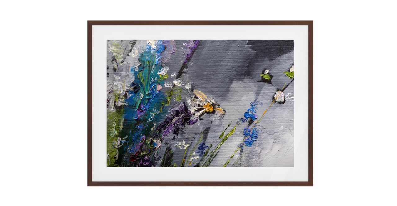 The Lavender Print Dark Brown Wood Frame Small